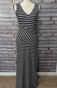 Black and white striped sundress. Cache
